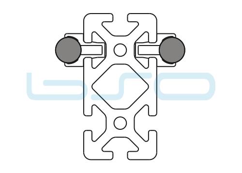 Schlitten Trägersystem Welle 14 Profil 40x80 schwer-v