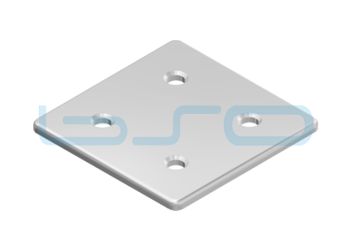 Abdeckkappe Nut 8 80x80 Zink-Druckguss Alu-Silberfarben
