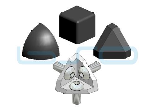 Eckwinkel-Set Nut 8 30x30 3x90 Grad Abdeckkappe dreieckig