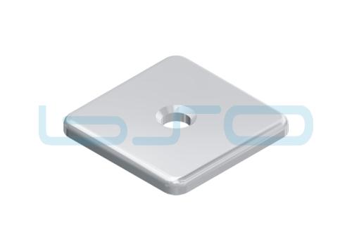 Abdeckkappe Nut 8 40x40 Zink-Druckguss Alu-Silberfarben