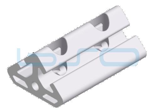 Winkel-Profilelement Nut 8 L=80mm 2x45 Grad