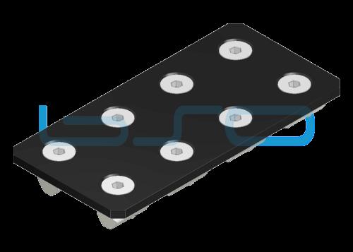 Verbindungslasche-Set Stahl Nut 8 80x160